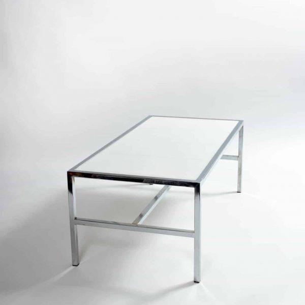 "White And Chrome Coffee Table: Chrome/white Coffee Table (24""w X 48""l X 14""h)"