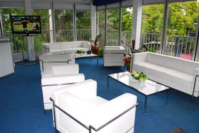 An Evening with Oprah – White Leather Furniture, Drapery, Stanchions from Special Event Rentals
